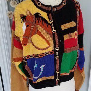 Rare Vintage Berek Horse cropped cardigan sweater